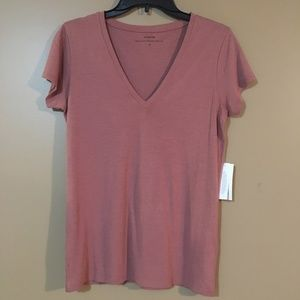 Vince V-neck tee shirt soft faded brown red Medium
